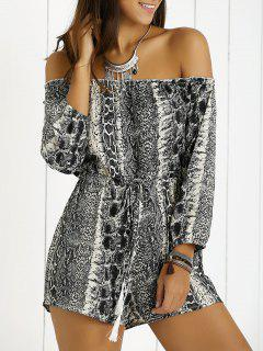 Long Sleeve Off The Shoulder Belted Print Romper - Black Xl