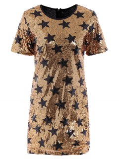 Sequins Star Print Round Collar Short Sleeves Dress - Golden Xl