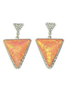 Rhinestoned Triangle Earrings - Pink