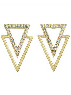 Rhinestone Hollowed Triangle Earrings - Golden