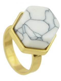Fake Rammel Hexagon Ring - White One-size