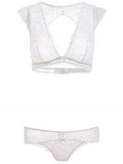 Cut Out Plunging Neck Lace Bra Set - White S
