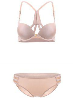 Front Closure Solid Color Push Up Bra Set - Complexion 85b