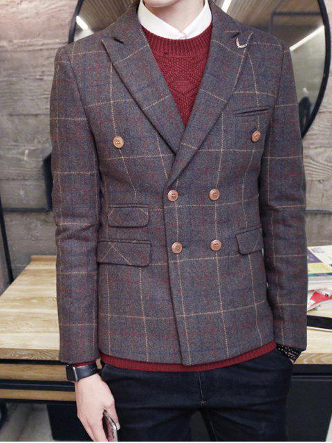 Trendy Karo-Revers-Kragen Langarm-Blazer für Männer - Kafee L Mobile