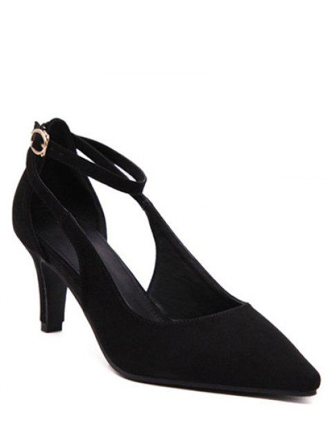 new Hollow Out Ankle Strap Stiletto Heel Pumps - BLACK 37 Mobile