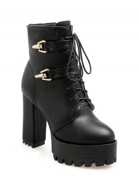 buy Metal Chunky Heel Black Short Boots - BLACK 39 Mobile