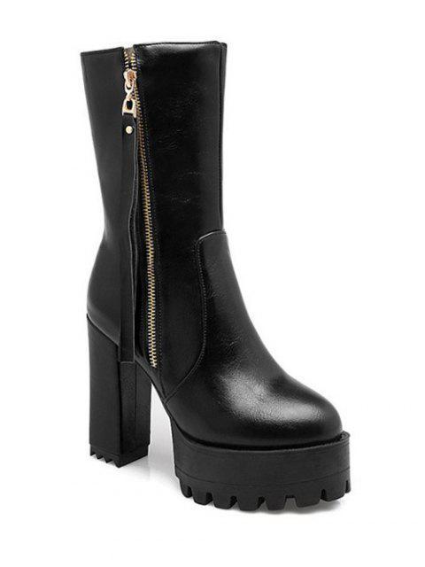 ladies Side Zip Chunky Heel Black Short Boots - BLACK 37 Mobile
