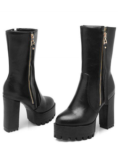 lady Side Zip Chunky Heel Black Short Boots -   Mobile