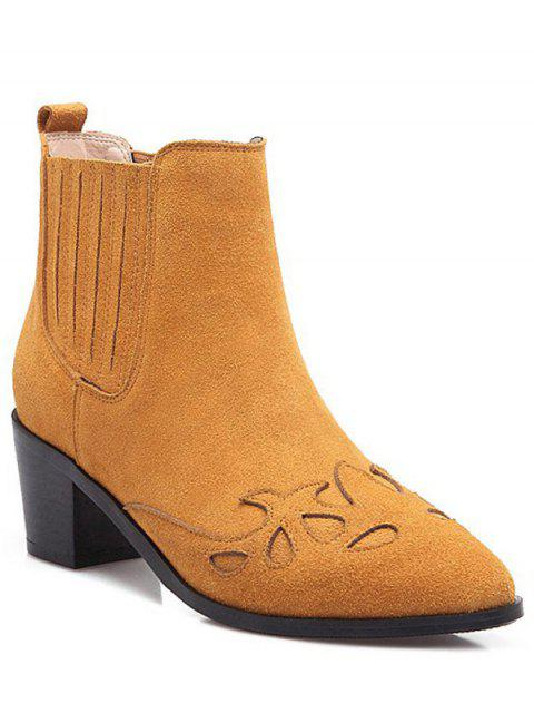 latest Engraving Pointed Toe Chunky Heel Ankle Boots - BROWN 38 Mobile