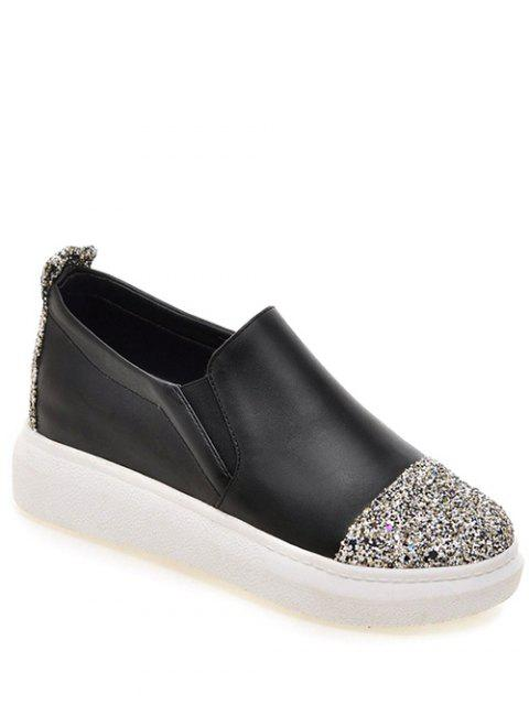 hot Sequins Slip-On Platform Shoes - BLACK 37 Mobile