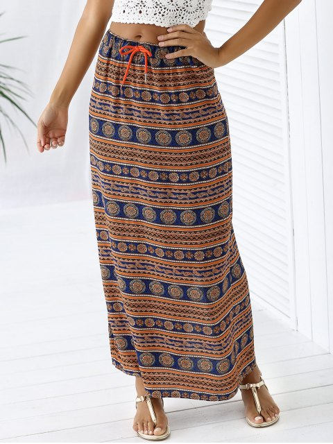 fashion A-Line High Waist Double Side Printed Skirt - ORANGEPINK S Mobile