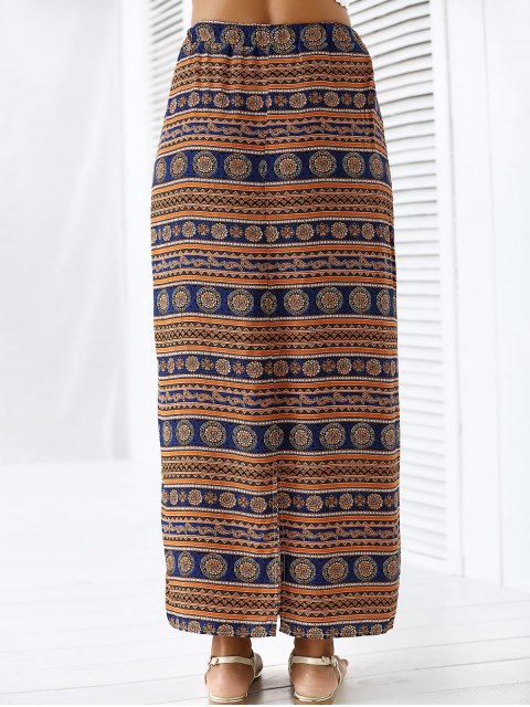 latest A-Line High Waist Double Side Printed Skirt - ORANGEPINK L Mobile