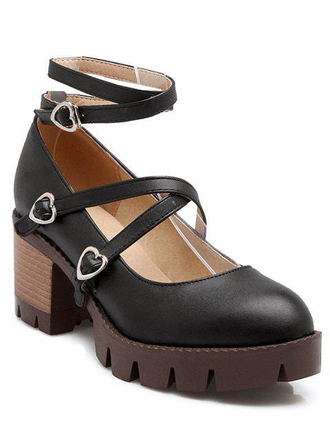 best Cross-Strap Chunky Heel Pumps - BLACK 37 Mobile