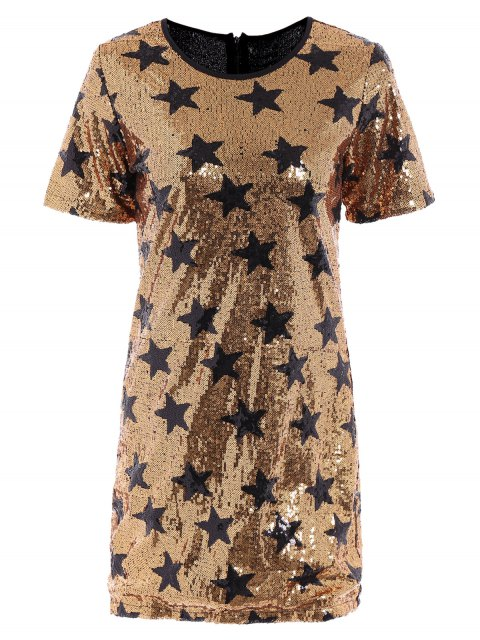 lady Sequins Star Print Round Collar Short Sleeves Dress - GOLDEN XL Mobile