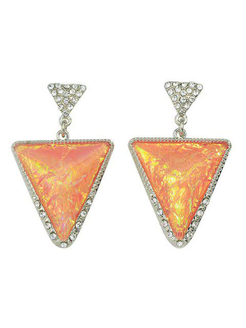 affordable Rhinestoned Triangle Earrings - PINK  Mobile