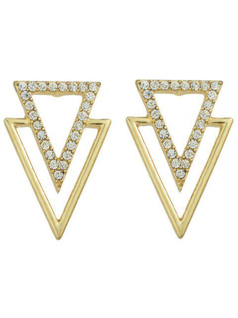 buy Rhinestone Hollowed Triangle Earrings - GOLDEN  Mobile