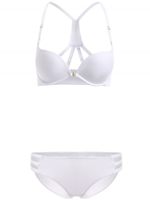 unique Front Closure Solid Color Push Up Bra Set - WHITE 70B Mobile