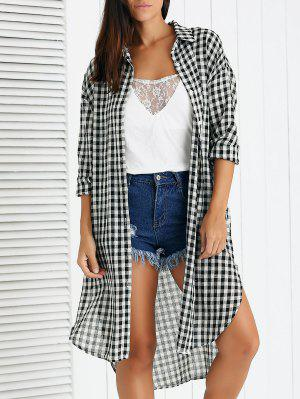 Gingham Long Shirt - Black