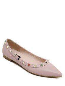 Buy Metal Rivets Beading Solid Color Flat Shoes - PINK 39