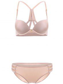 Front Closure Solid Color Push Up Bra Set - Complexion 75c