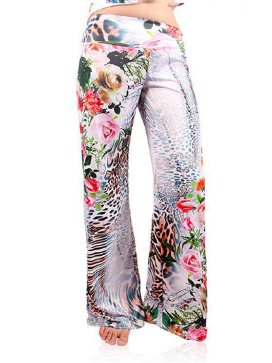 سروال ليوبارد الأزهار واسعة الساق Exumas - أبيض 2XL