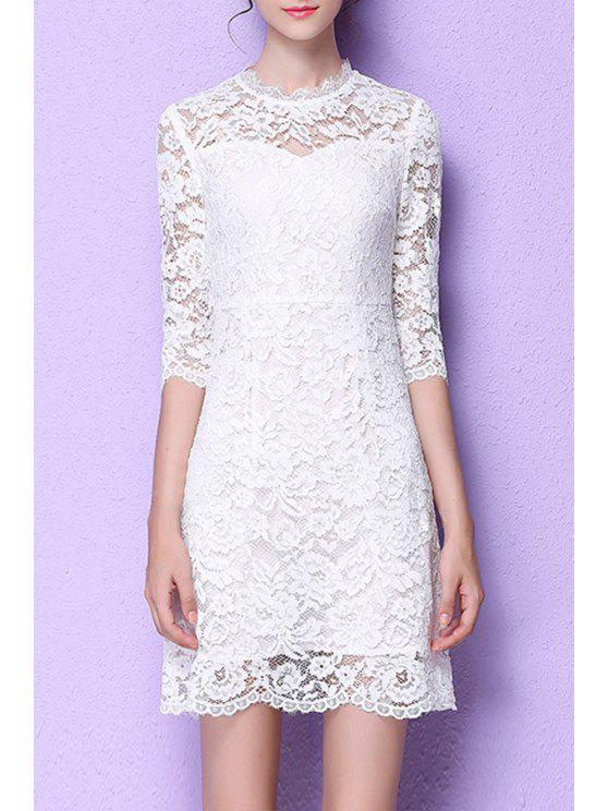 chic Lace Flounce Ruffles A-Line Dress - WHITE M