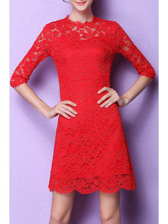women's Lace Flounce Ruffles A-Line Dress - RED M