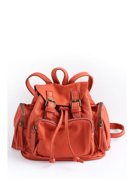 Double Buckles Backpack - Tangerine