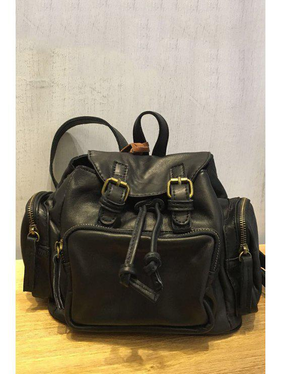 women Double Buckles Backpack - BLACK