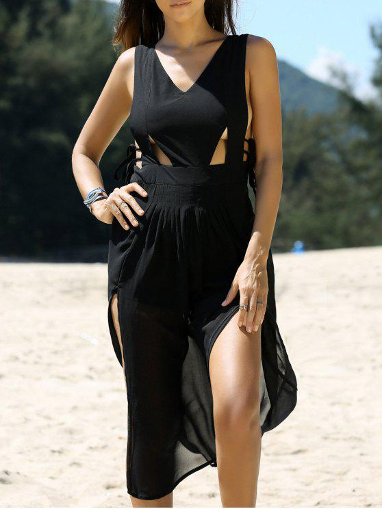 womens Cross Back V Neck Cutout Front Slit Dress - BLACK M