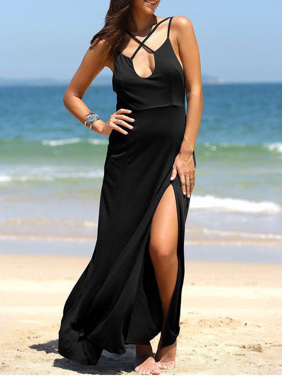 فستان مثيرعالية الانقسام غارق الرقبة ماكسي - أسود L