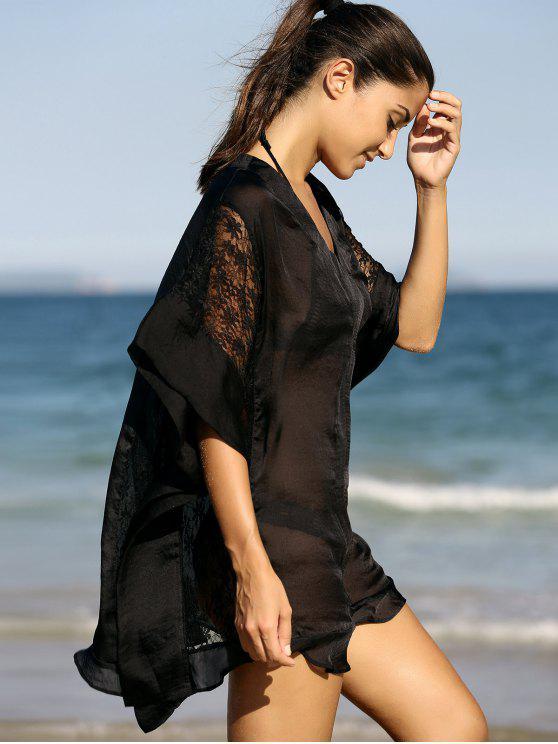 Vestido de cambio de empalme V cuello de la media manga del cordón - Negro M