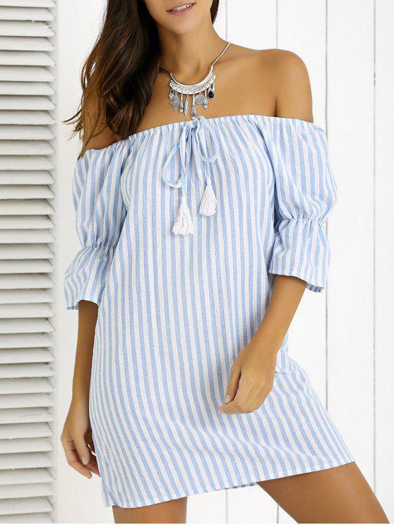 Manga de la llamarada del hombro Fringe vestido rayado - Azul M