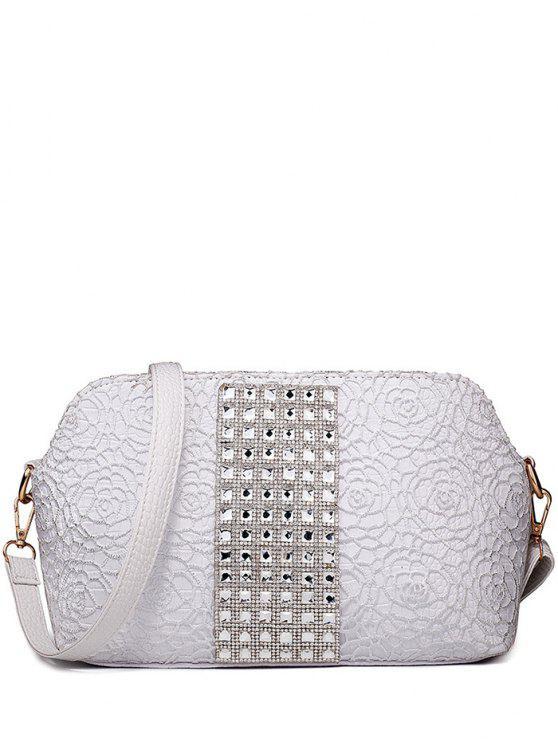 Dentelle Strass gaufrage Shoulder Bag - Argent