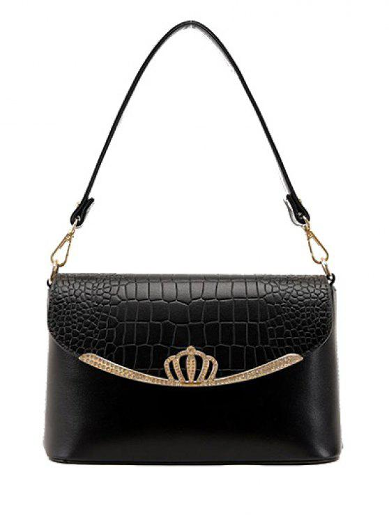 fancy Crocodile Print Crown Metal Shoulder Bag - BLACK