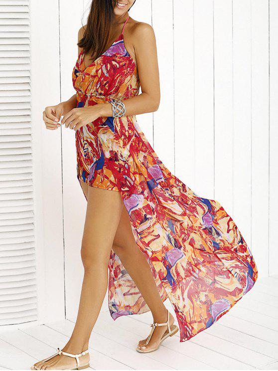 fancy Printed Halter Backless Maxi Dress - RED S