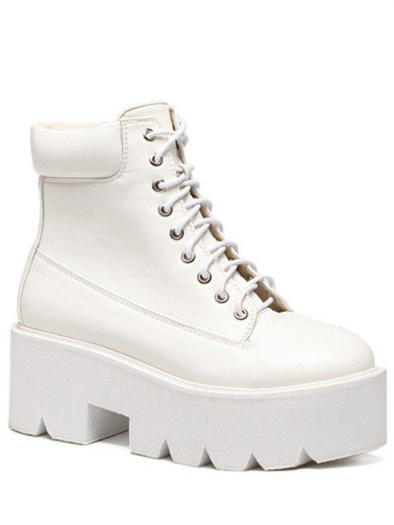 Plate-forme Tie Up bout rond Bottes - Blanc 39