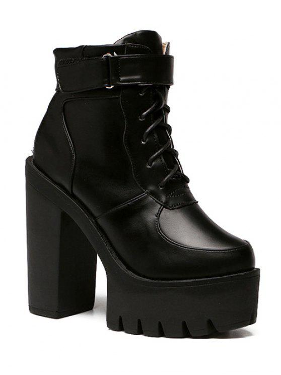women Chunky Heel Lace-Up Platform Short Boots - BLACK 38