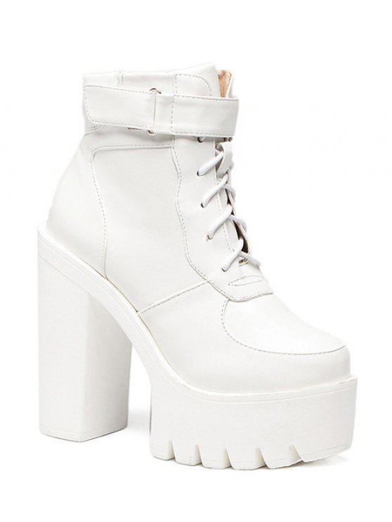 Chunky Heel Lace-Up Platform Short Boots WHITE: Boots 39 | ZAFUL