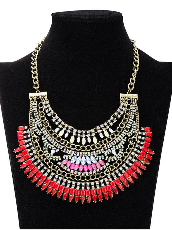 Rhinestoned creux Out Collier Bijoux - Rouge