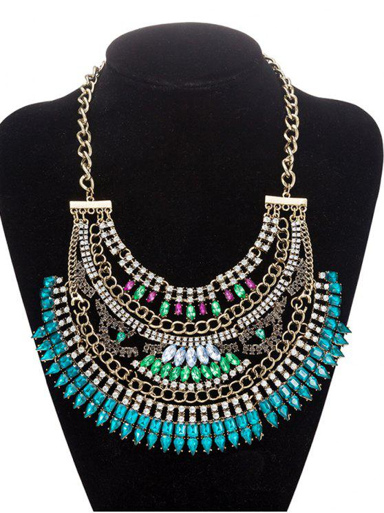 best Rhinestoned Hollow Out Necklace Jewelry - BLUE