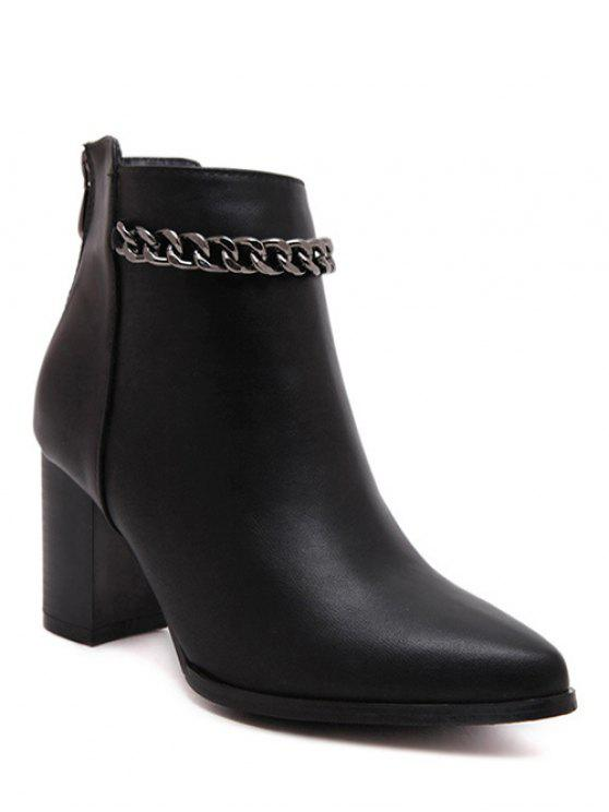 best Black Chain Pointed Toe Short Boots - BLACK 38