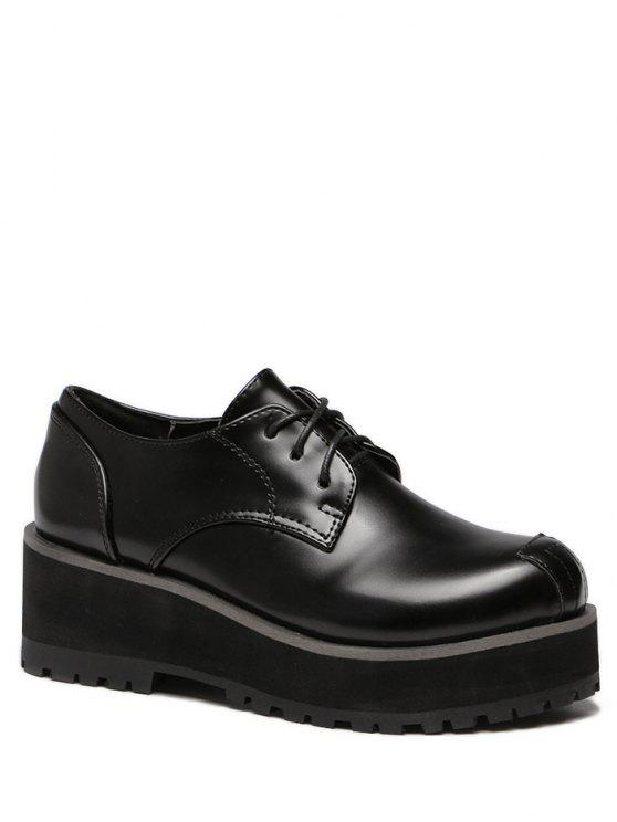 chic Black Stitching Round Toe Wedge Shoes - BLACK 39