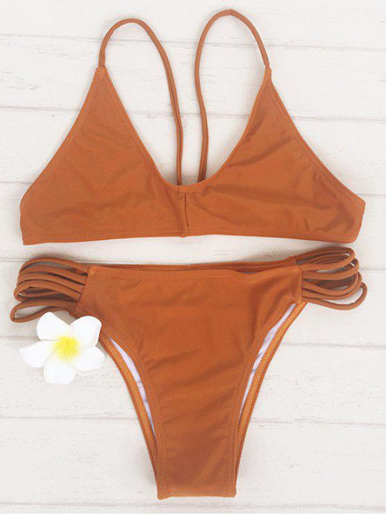 latest Brown Spaghetti Strap Bikini Set - BROWN M