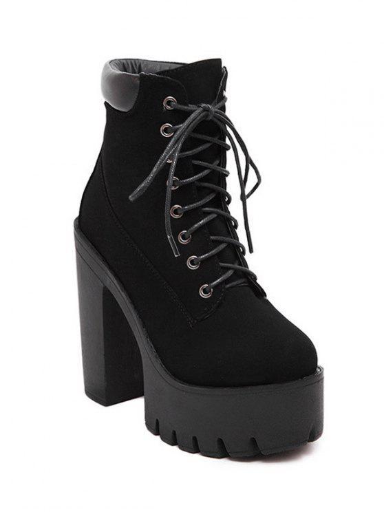 Con cordones de la Ronda del dedo del pie botas cortas Negro - Negro 37