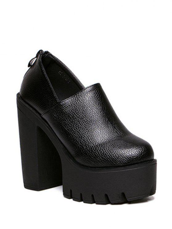 trendy Zipper Platform Chunky Heel Pumps - BLACK 38