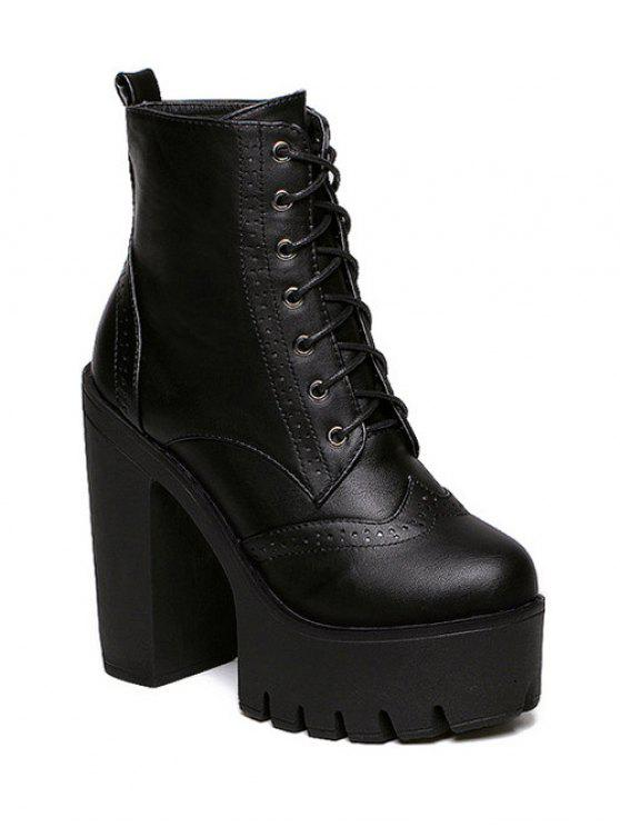 Zipper Black Lace-Up Short Boots - Schwarz 39
