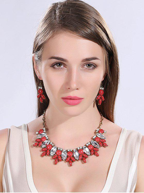 womens Faux Crystal Resin Necklace and Earrings - RED