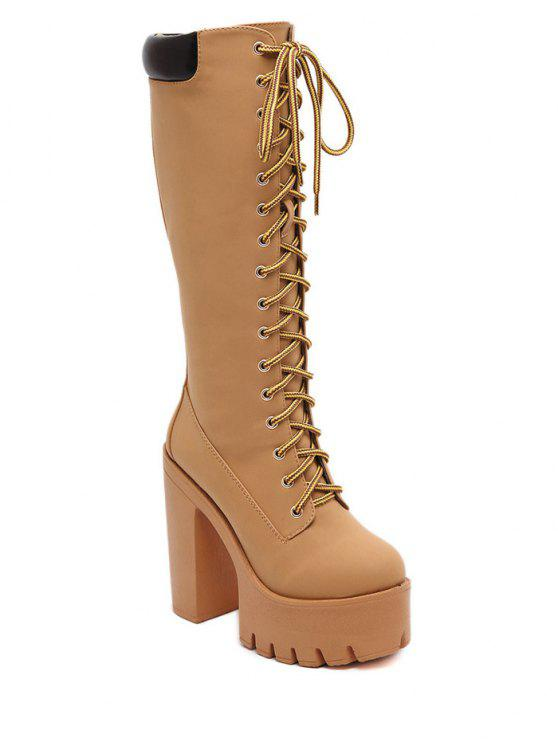 chic Tie Up Platform Zipper Mid-Calf Boots - LIGHT BROWN 37