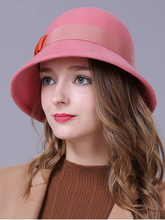 outfits Bowknot Wool Bucket Hat - PINK